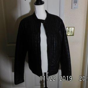 Designer Faux Leather Black Jacket XL